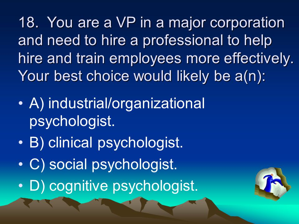 18. You are a VP in a major corporation and need to hire a professional to help hire and train employees more effectively. Your best choice would like