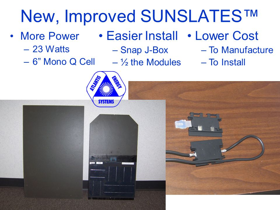 New, Improved SUNSLATES™ More Power –23 Watts –6 Mono Q Cell Easier Install – Snap J-Box – ½ the Modules Lower Cost – To Manufacture – To Install