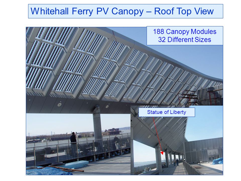 Whitehall Ferry PV Canopy – Roof Top View 188 Canopy Modules 32 Different Sizes Statue of Liberty