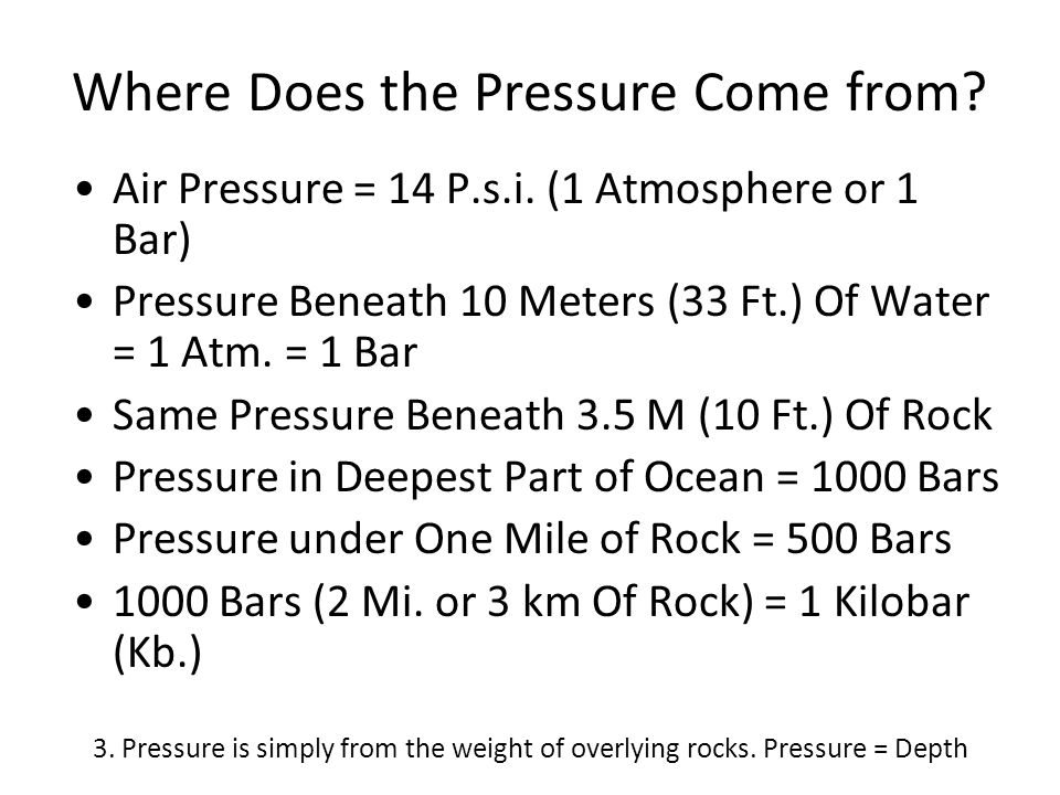 Where Does the Pressure Come from? Air Pressure = 14 P.s.i. (1 Atmosphere or 1 Bar) Pressure Beneath 10 Meters (33 Ft.) Of Water = 1 Atm. = 1 Bar Same