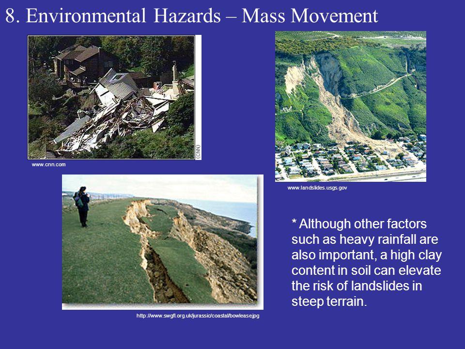 8. Environmental Hazards – Mass Movement www.cnn.com www.landslides.usgs.gov http://www.swgfl.org.uk/jurassic/coastal/bowlease.jpg * Although other fa
