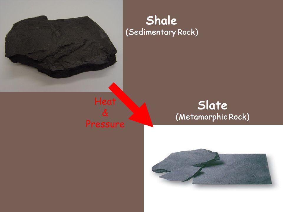 Shale (Sedimentary Rock) Slate (Metamorphic Rock) Heat & Pressure