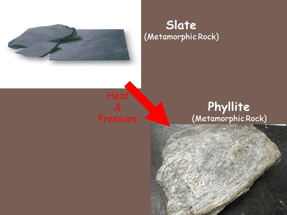 Slate (Metamorphic Rock) Heat & Pressure Phyllite (Metamorphic Rock)