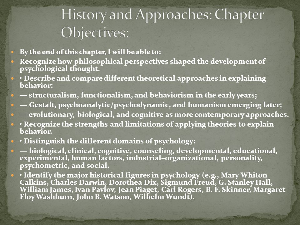 By the end of this chapter, I will be able to: Recognize how philosophical perspectives shaped the development of psychological thought. Describe and
