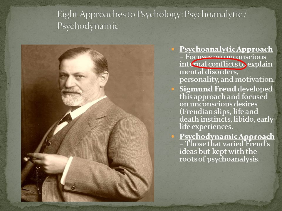 Psychoanalytic Approach – Focuses on unconscious internal conflicts to explain mental disorders, personality, and motivation. Sigmund Freud developed