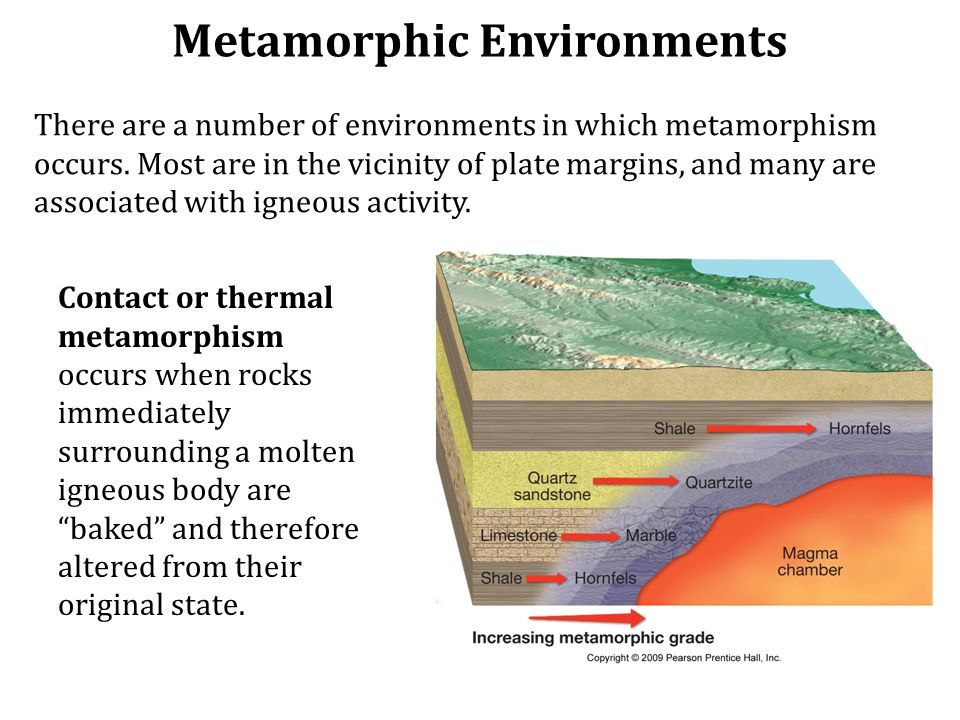 Metamorphic Environments There are a number of environments in which metamorphism occurs.