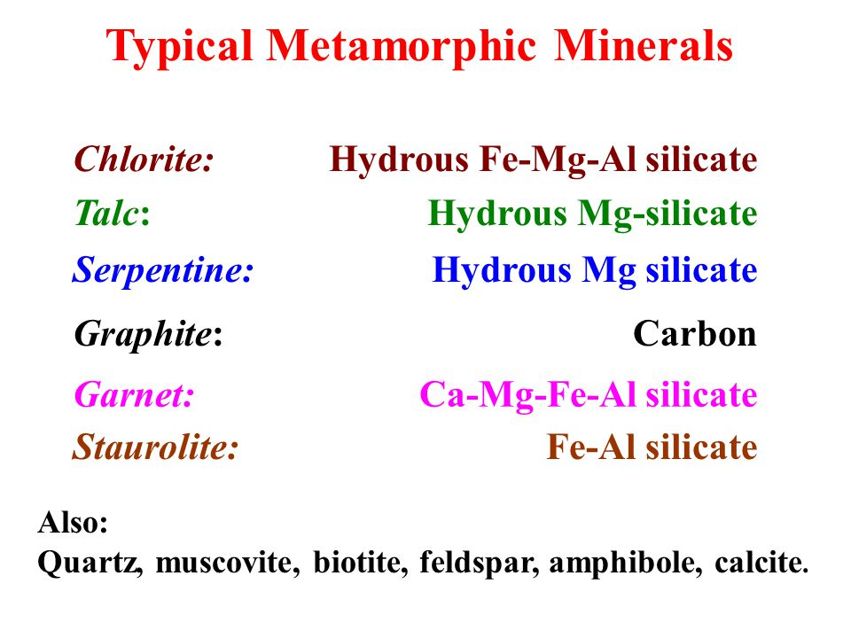 Typical Metamorphic Minerals Chlorite: Hydrous Fe-Mg-Al silicate Talc: Hydrous Mg-silicate Serpentine: Hydrous Mg silicate Graphite: Carbon Garnet: Ca