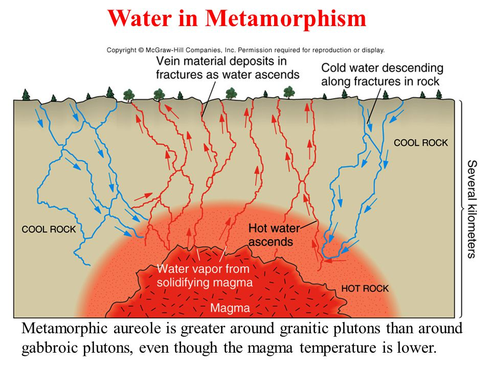 Metamorphic aureole is greater around granitic plutons than around gabbroic plutons, even though the magma temperature is lower.