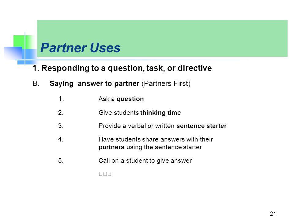 Partner Uses 1.