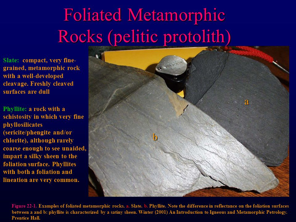 Figure 22-1. Examples of foliated metamorphic rocks. a. Slate. b. Phyllite. Note the difference in reflectance on the foliation surfaces between a and