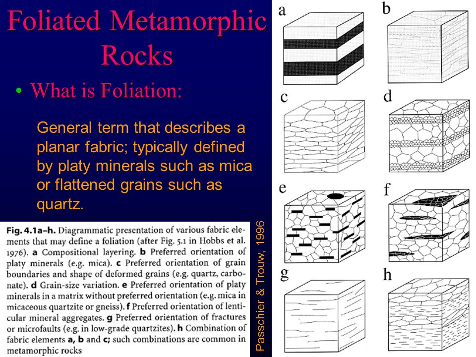 Foliated Metamorphic Rocks What is Foliation:What is Foliation: General term that describes a planar fabric; typically defined by platy minerals such as mica or flattened grains such as quartz.