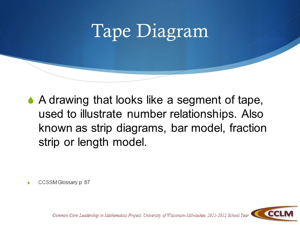 Common Core Leadership in Mathematics Project, University of Wisconsin-Milwaukee, 2011-2012 School Year Tape Diagram  A drawing that looks like a segment of tape, used to illustrate number relationships.