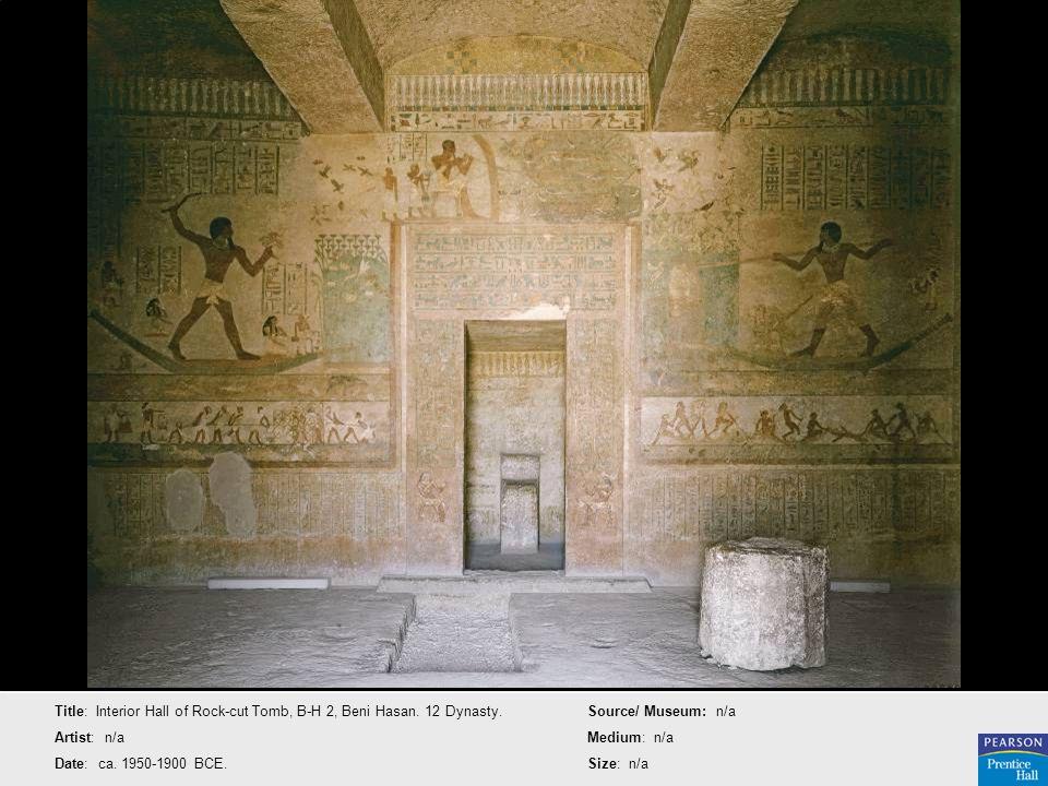 Title: Interior Hall of Rock-cut Tomb, B-H 2, Beni Hasan. 12 Dynasty. Artist: n/a Date: ca. 1950-1900 BCE. Source/ Museum: n/a Medium: n/a Size: n/a