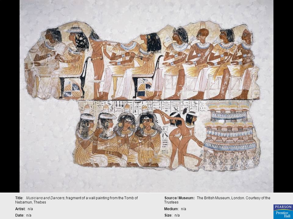 Title: Musicians and Dancers, fragment of a wall painting from the Tomb of Nebamun, Thebes Artist: n/a Date: n/a Source/ Museum: The British Museum, L