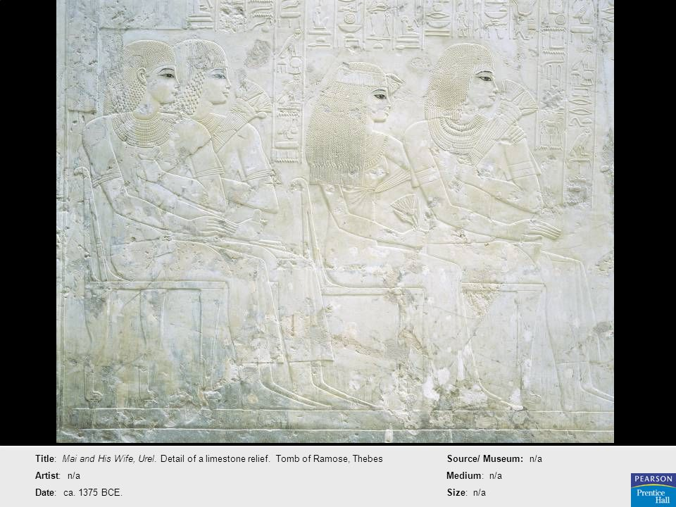 Title: Mai and His Wife, Urel. Detail of a limestone relief. Tomb of Ramose, Thebes Artist: n/a Date: ca. 1375 BCE. Source/ Museum: n/a Medium: n/a Si