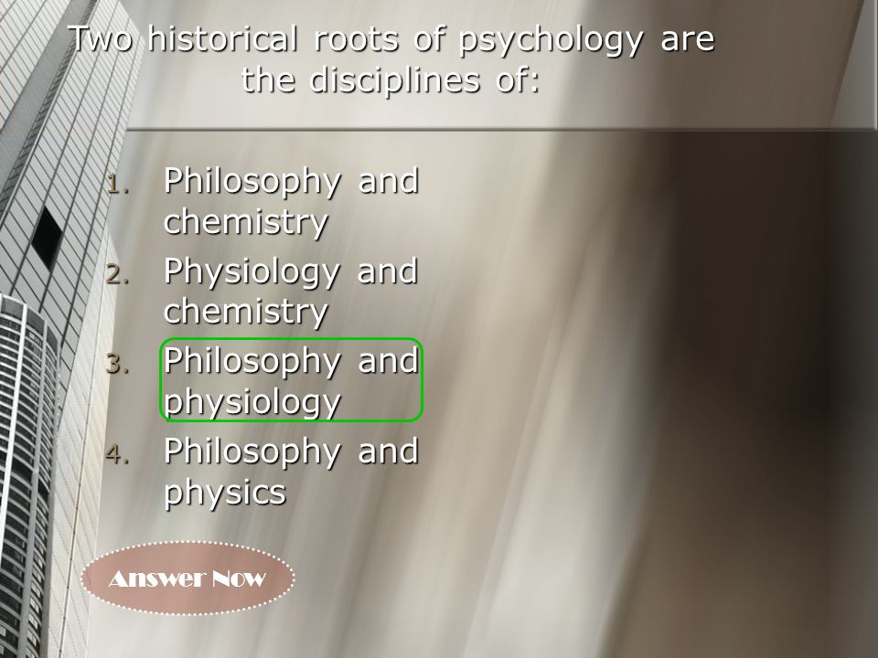Key Players in the History of Psychology: About 2000 yrs.