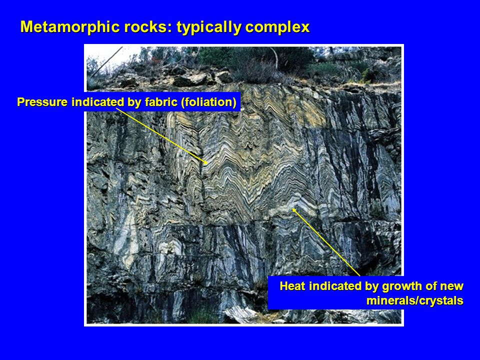 Metamorphic rocks: typically complex Pressure indicated by fabric (foliation) Heat indicated by growth of new minerals/crystals