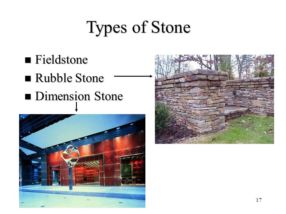 17 Types of Stone Fieldstone Fieldstone Rubble Stone Rubble Stone Dimension Stone Dimension Stone