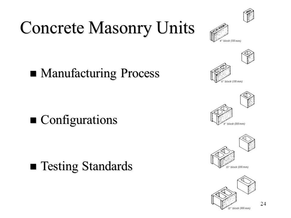 24 Concrete Masonry Units Manufacturing Process Manufacturing Process Configurations Configurations Testing Standards Testing Standards