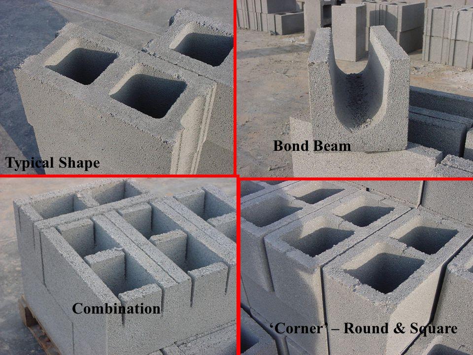 25 Typical Shape Bond Beam Combination 'Corner' – Round & Square
