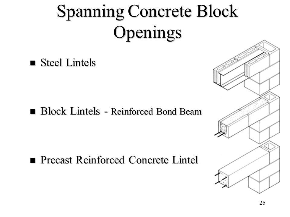 26 Spanning Concrete Block Openings Steel Lintels Steel Lintels Block Lintels - Reinforced Bond Beam Block Lintels - Reinforced Bond Beam Precast Rein