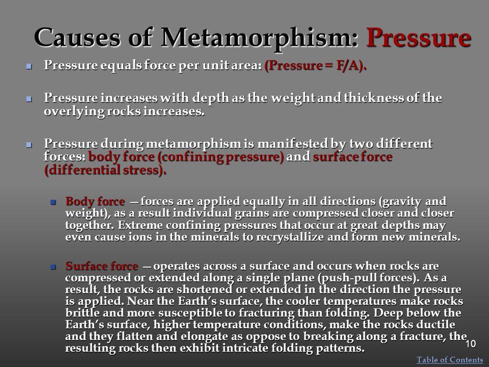 Causes of Metamorphism: Pressure Pressure equals force per unit area: (Pressure = F/A).