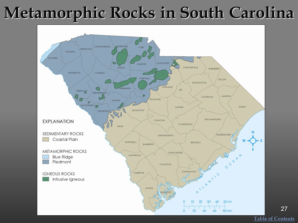 Metamorphic Rocks in South Carolina 27 Table of Contents Table of Contents