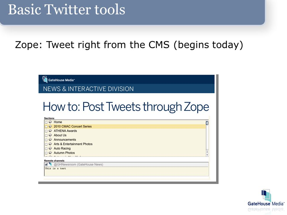 Basic Twitter tools Zope: Tweet right from the CMS (begins today)