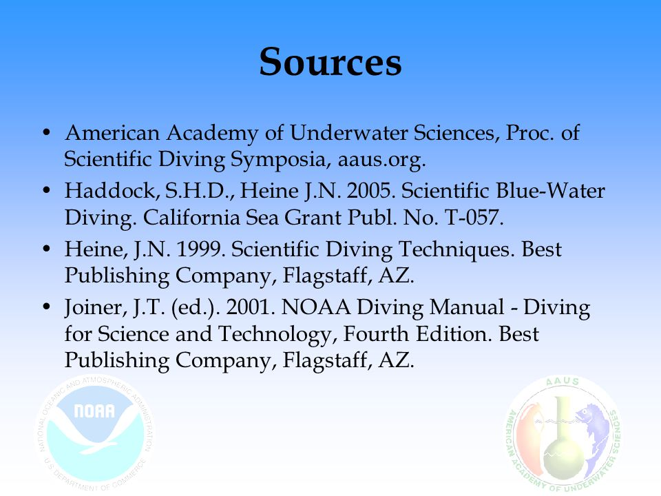Sources American Academy of Underwater Sciences, Proc.