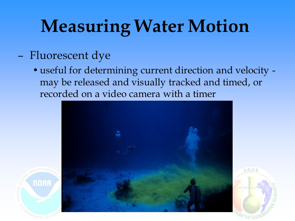 Measuring Water Motion – Fluorescent dye useful for determining current direction and velocity - may be released and visually tracked and timed, or recorded on a video camera with a timer