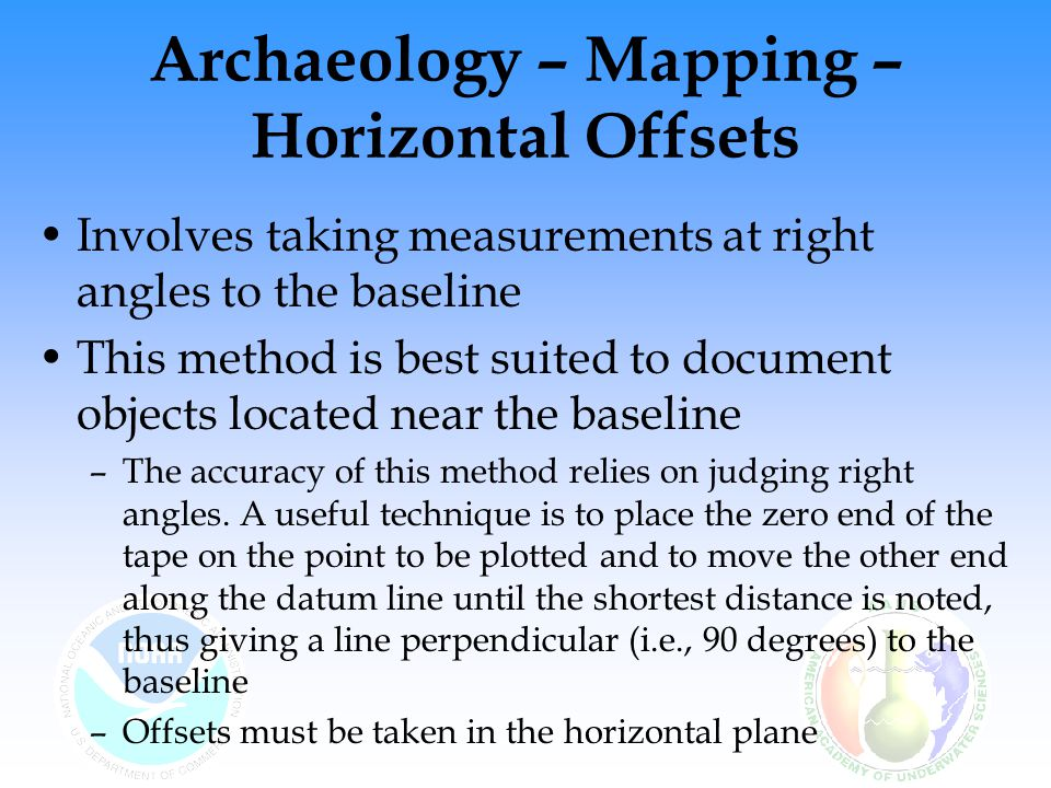 Archaeology – Mapping – Horizontal Offsets Involves taking measurements at right angles to the baseline This method is best suited to document objects located near the baseline –The accuracy of this method relies on judging right angles.
