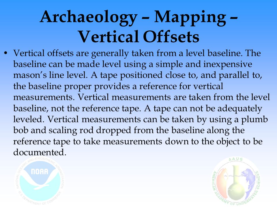 Archaeology – Mapping – Vertical Offsets Vertical offsets are generally taken from a level baseline.