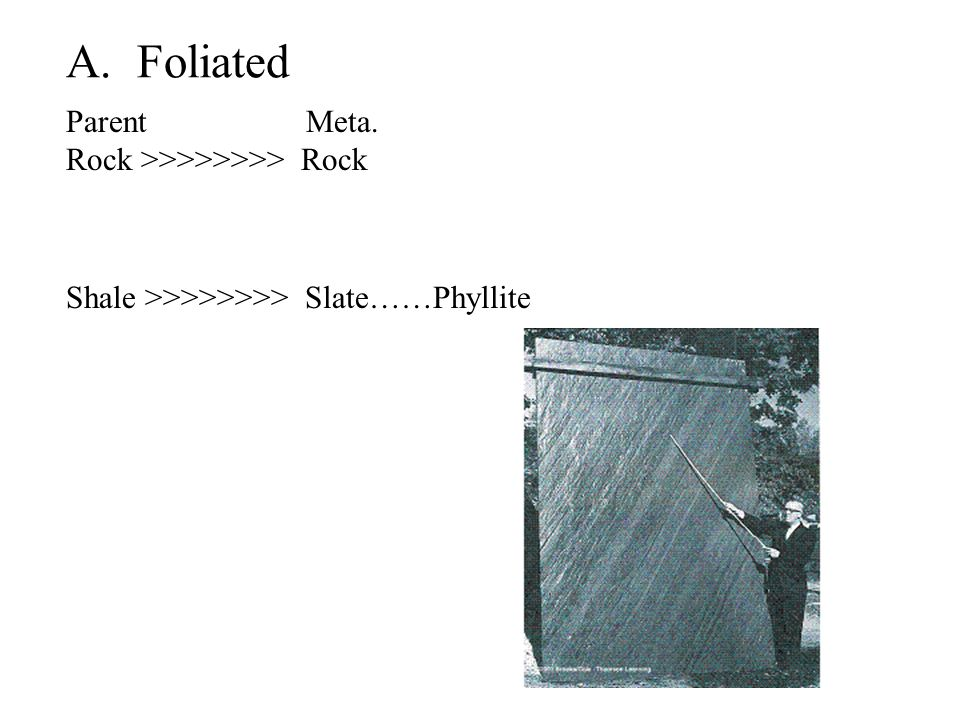 A. Foliated Parent Meta. Rock >>>>>>>> Rock Shale >>>>>>>> Slate……Phyllite