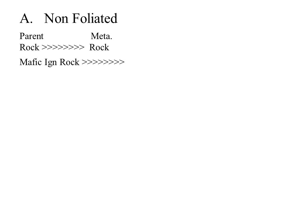 A. Non Foliated Parent Meta. Rock >>>>>>>> Rock Mafic Ign Rock >>>>>>>>