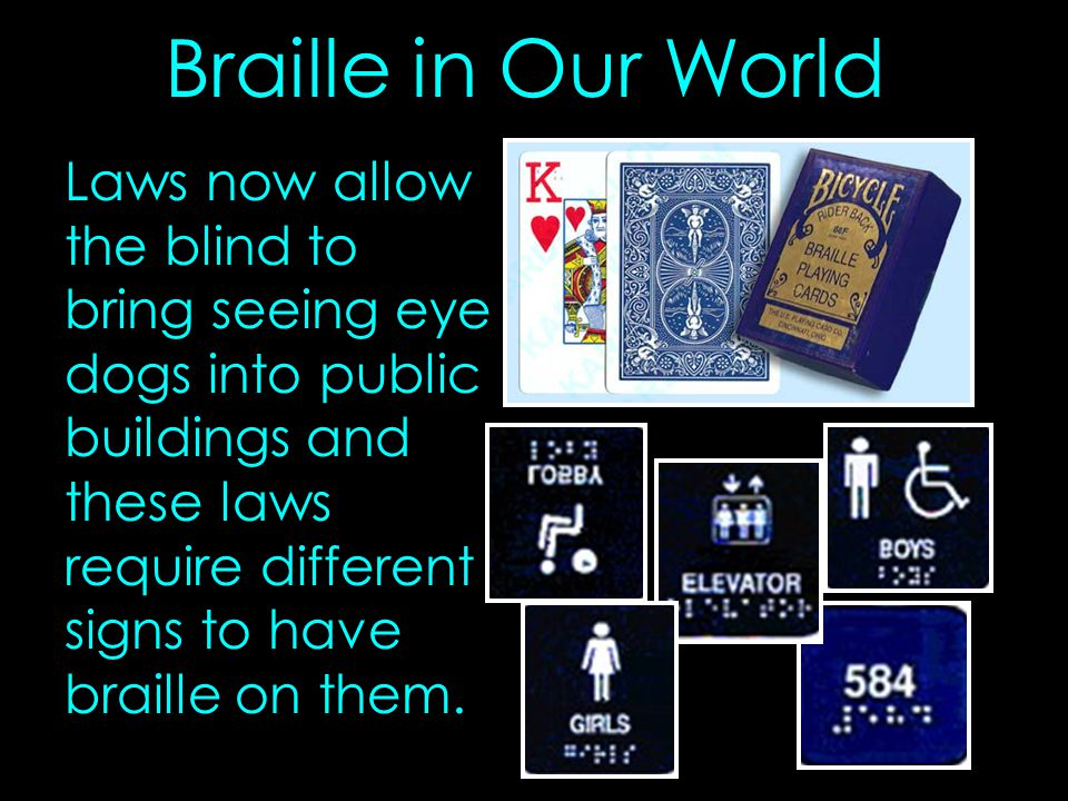 Braille in Our World Laws now allow the blind to bring seeing eye dogs into public buildings and these laws require different signs to have braille on them.