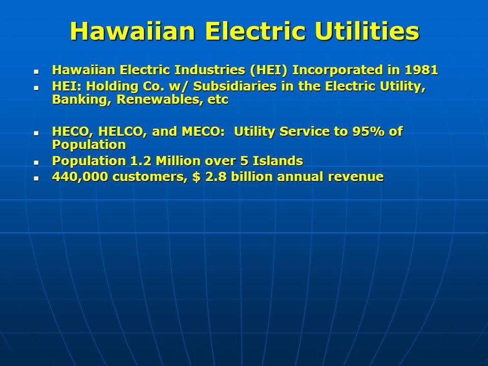 Hawaiian Electric Utilities Hawaiian Electric Industries (HEI) Incorporated in 1981 Hawaiian Electric Industries (HEI) Incorporated in 1981 HEI: Holdi
