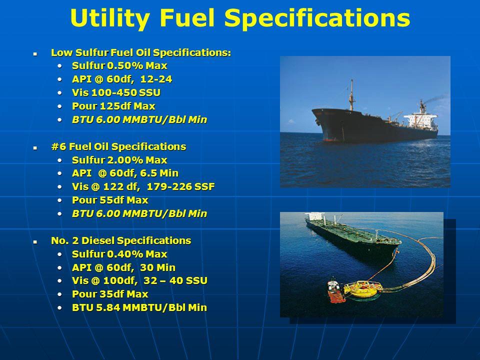Utility Fuel Specifications Low Sulfur Fuel Oil Specifications: Low Sulfur Fuel Oil Specifications: Sulfur 0.50% MaxSulfur 0.50% Max API @ 60df, 12-24