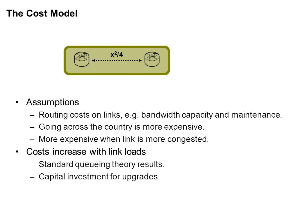 The Cost Model x 2 /4 Assumptions –Routing costs on links, e.g.