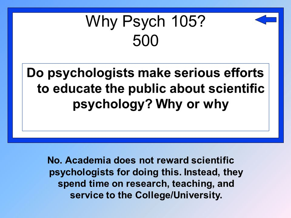 Why Psych 105? 500 Do psychologists make serious efforts to educate the public about scientific psychology? Why or why No. Academia does not reward sc