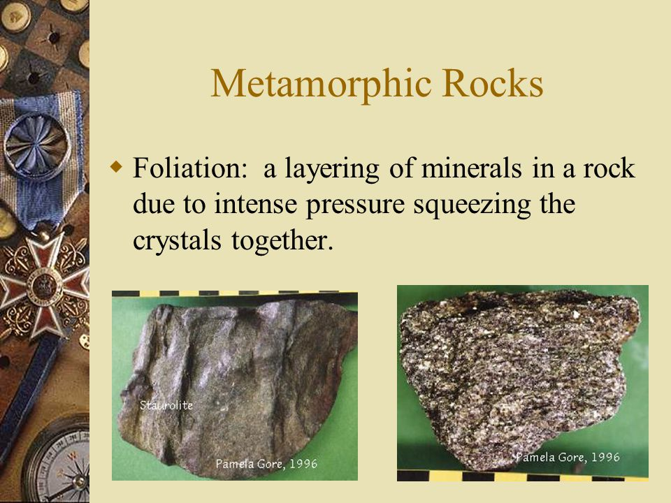  III. Metamorphic Rocks – rock that have been changed by temperature, pressure, or chemical reactions. – Most metamorphic rocks form under high tempe