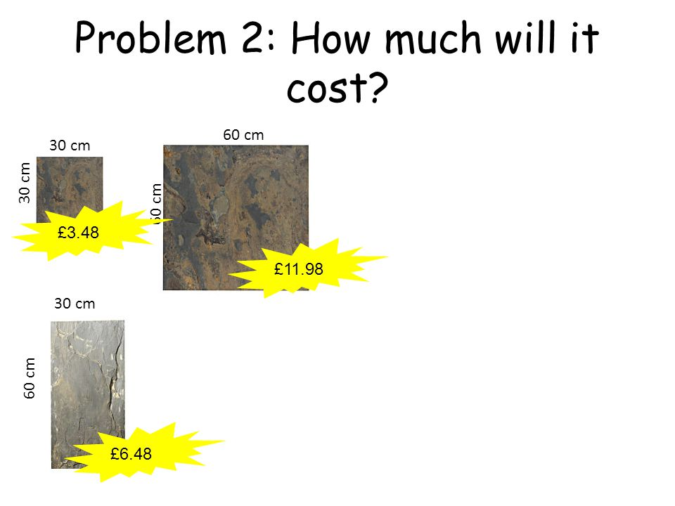 Problem 2: How much will it cost 60 cm 30 cm 60 cm £11.98 £3.48 £6.48