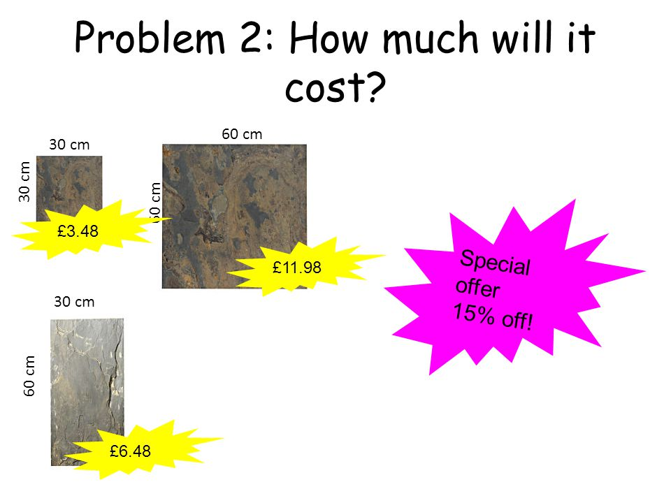 Problem 2: How much will it cost 60 cm 30 cm 60 cm £11.98 £3.48 £6.48 Special offer 15% off!