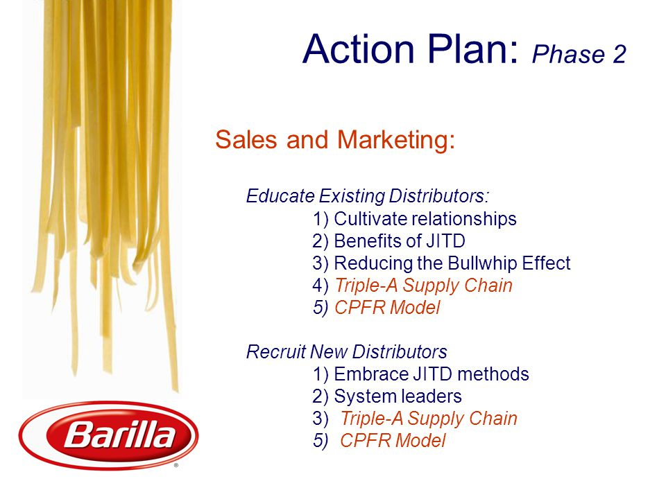 Action Plan: Phase 2 Sales and Marketing: Educate Existing Distributors: 1) Cultivate relationships 2) Benefits of JITD 3) Reducing the Bullwhip Effect 4) Triple-A Supply Chain 5) CPFR Model Recruit New Distributors 1) Embrace JITD methods 2) System leaders 3) Triple-A Supply Chain 5) CPFR Model