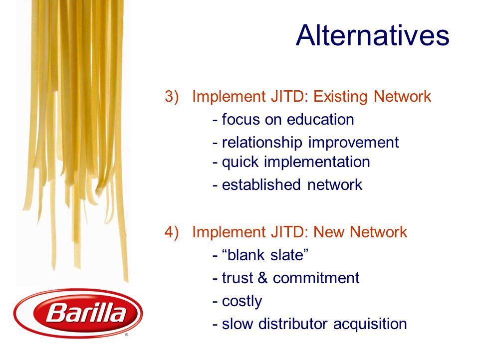 Alternatives 3) Implement JITD: Existing Network - focus on education - relationship improvement - quick implementation - established network 4) Imple