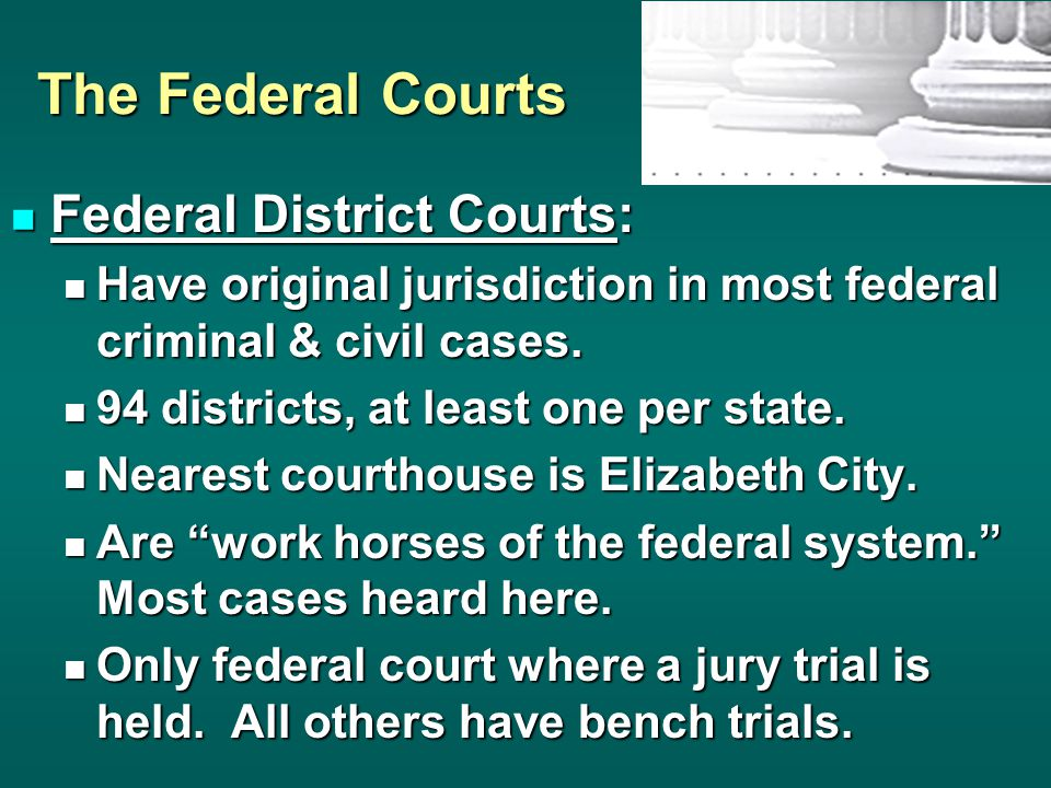 The Federal Courts US Court of Appeals: US Court of Appeals: 12 regular circuits, including 1 in D.C.