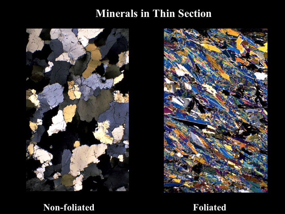 Non-foliatedFoliated Minerals in Thin Section