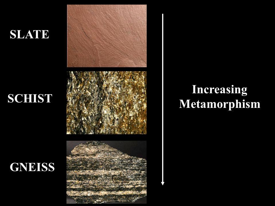 SLATE SCHIST GNEISS Increasing Metamorphism