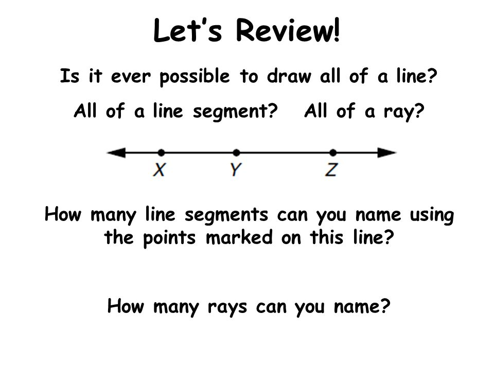 Let's Review! Is it ever possible to draw all of a line? All of a line segment? All of a ray? How many line segments can you name using the points mar