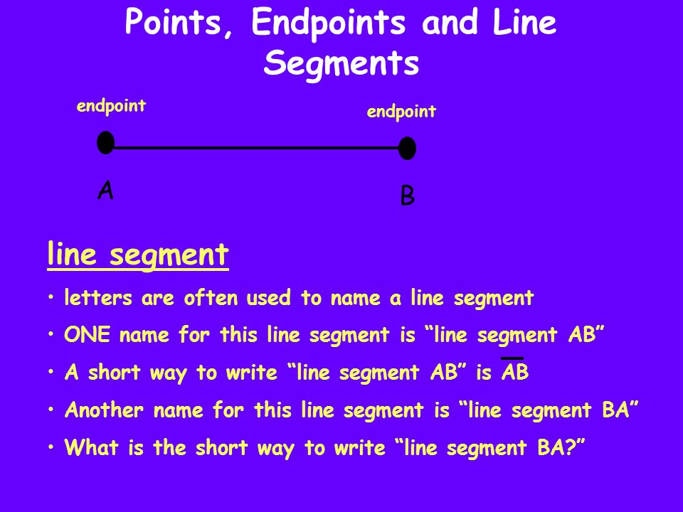 """Points, Endpoints and Line Segments A B line segment letters are often used to name a line segment ONE name for this line segment is """"line segment AB"""""""