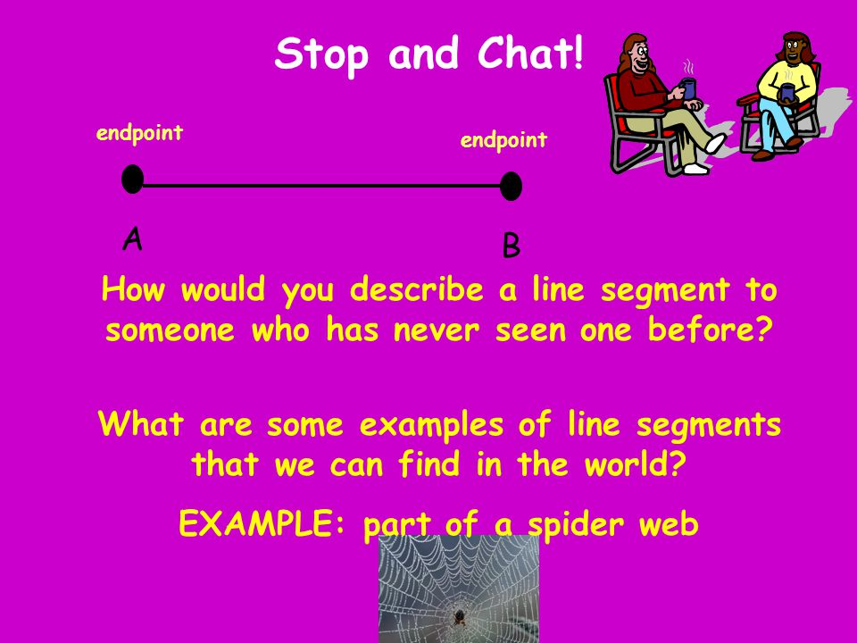 Stop and Chat! A B How would you describe a line segment to someone who has never seen one before? What are some examples of line segments that we can